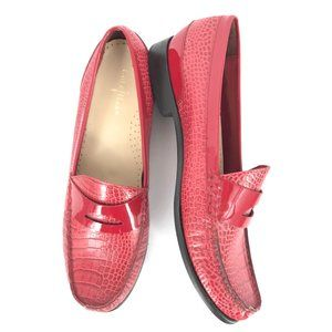 COLE HANN LAUREL RED CROC PRINT MOC LOAFER SZ 9B